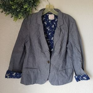 Quicksilver Chambray Floral Blazer Jacket